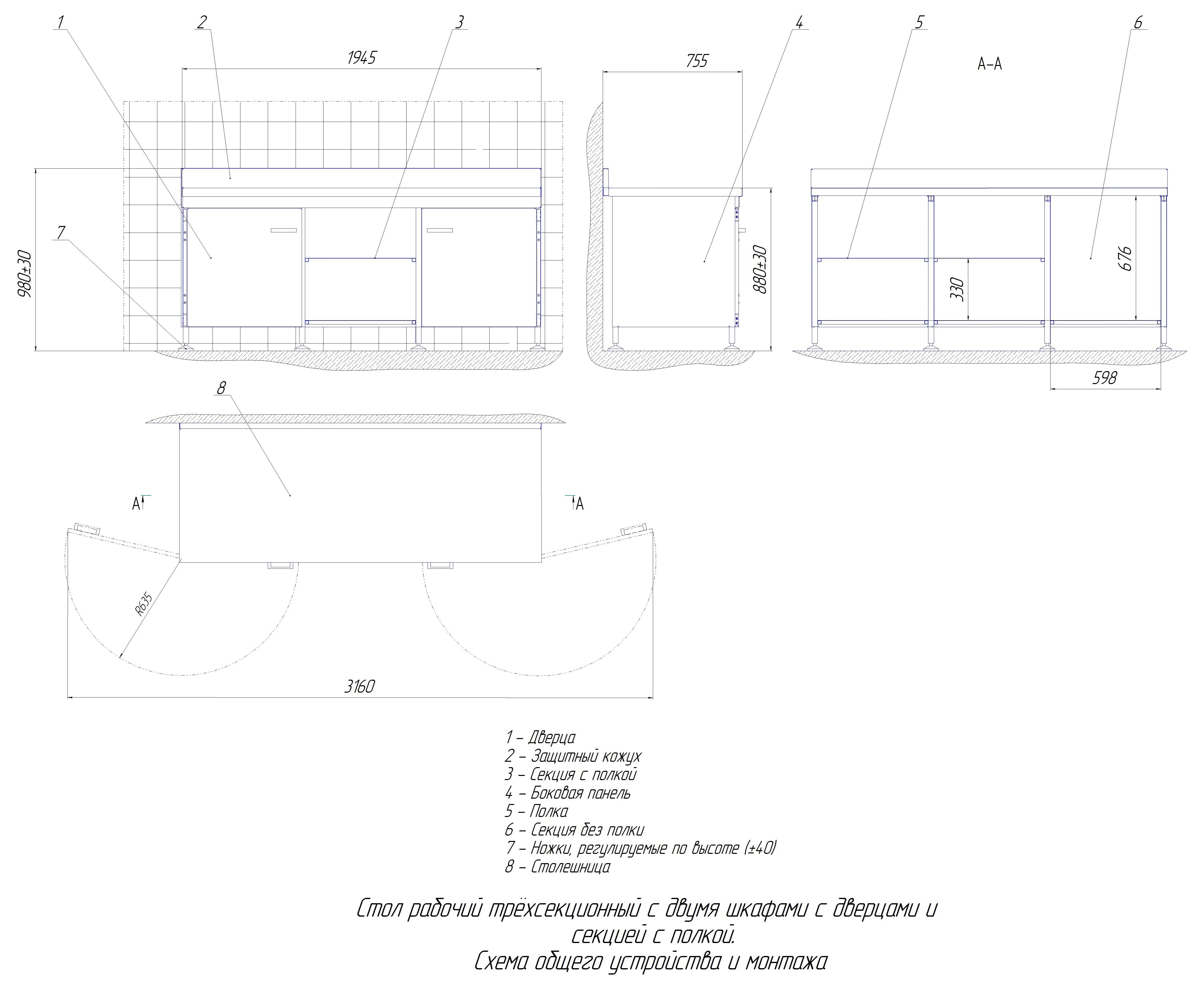 Стол рабочий №2 из нерж. стали 3-х секц. с двумя шкафами с дверцей и открытой секцией с полкой (1945 мм)